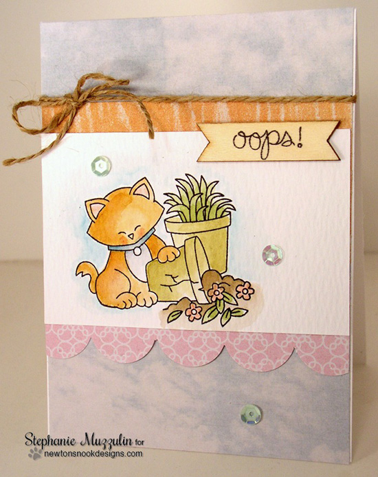 oops card with Naughty Kitty by Stephanie Muzzulin | Naughty Newton Stamp set by Newton's Nook Designs