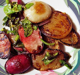 Plate of Golden Brown Honeyed Turnips