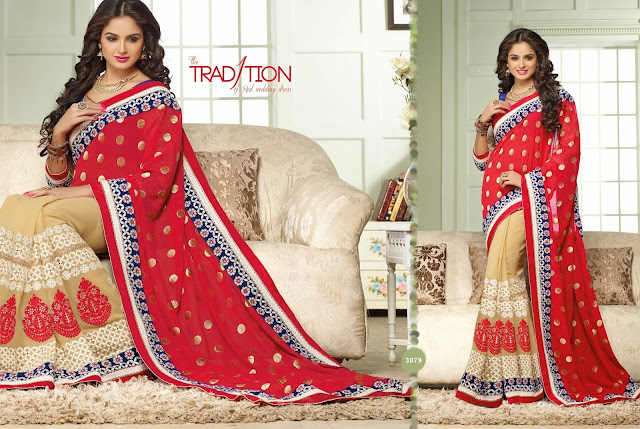 Beige & Red Crepe Saree With Dupion Silk Blouse & Butta Work