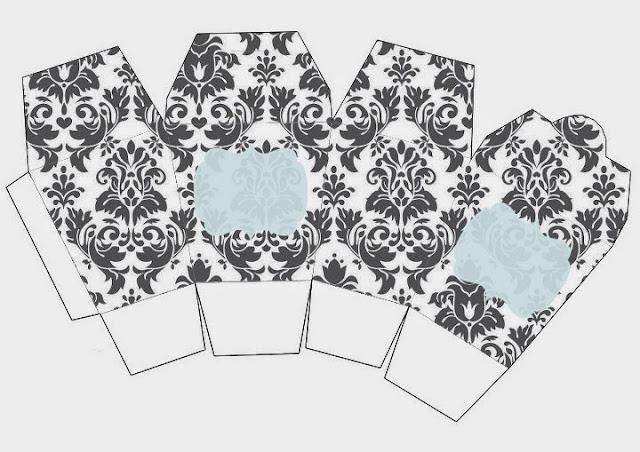 Grey Damasks in Light Blue: Free Printable Chinese Take Away Box.