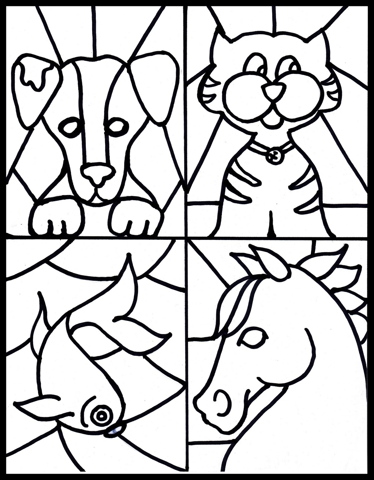 simple stained glass coloring pages - photo#29