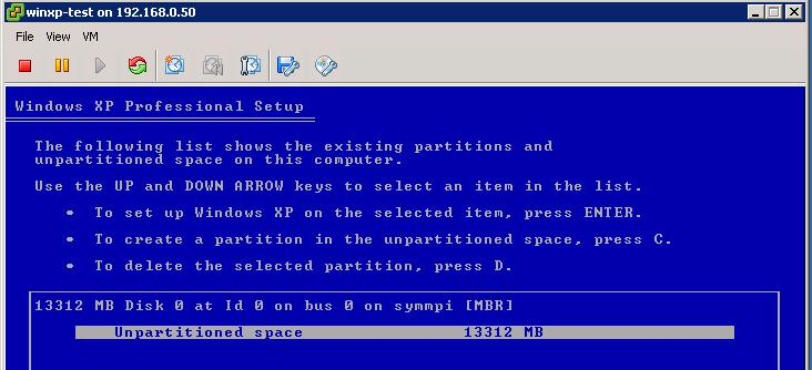 windows xp virtual machine image vmware