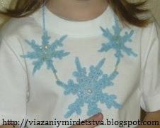 Ожерелье из снежинок крючком