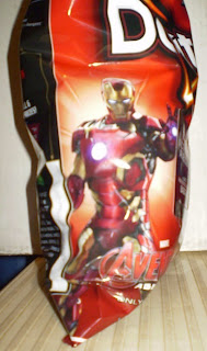 Closer look at Iron Man on the Nacho Cheese Doritos bag
