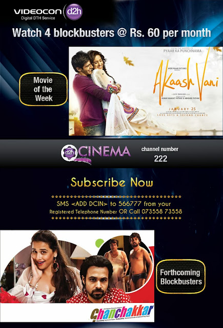 Watch 4 New Blockbuster Movies on Videocon D2H