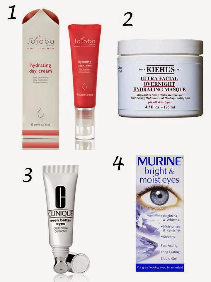 Jojoba hydrating Day cream, Kiel's Ultrafacial Overnight hydrating mask, Clinique even better eyes cream, Murine bright and moist eyes