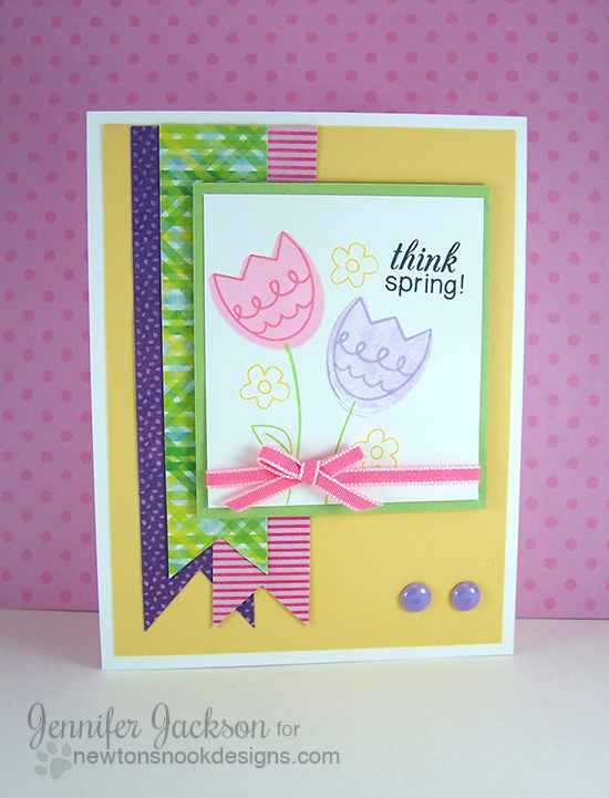 Tulip Card for Inky Paws Challenge #9 | Newton's Nook Designs