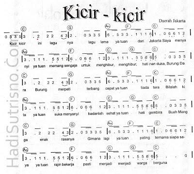 Not Angka Pianika Lagu Daerah Jakarta