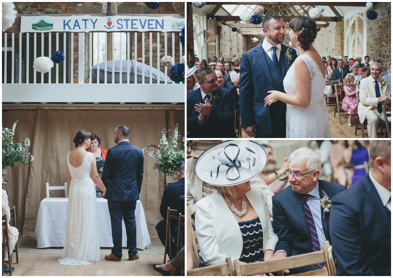Wedding ceremony at the Tithe Barn, Dorset