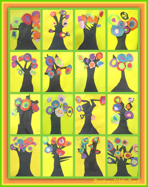 photo of: Kandinsky's concentric circles BLOOM on spring Trees (First Grade Art Project) via RainbowsWithinReach