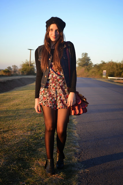romer, floral, fall outfit, autumn, beanie, fashion blogger argentina, outfit