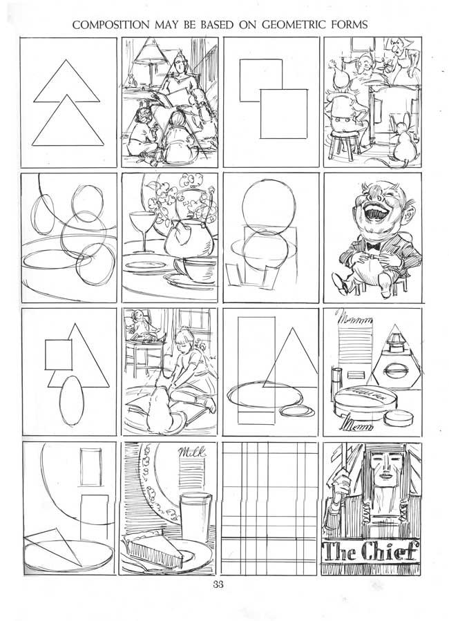 Ejemplo de esquemas compositivos con figuras geométricas compuestas del libro creative compositive de Andrew Loomis