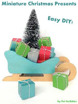 Miniature Christmas Presents: An easy DIY! Perfect for bottle brush trees, decorative sleighs and fairy gardens!