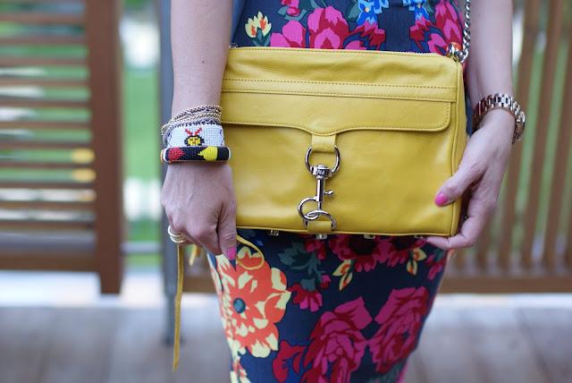 Rebecca Minkoff MAC clutch in yellow, beaded bangles, Fashion and Cookies