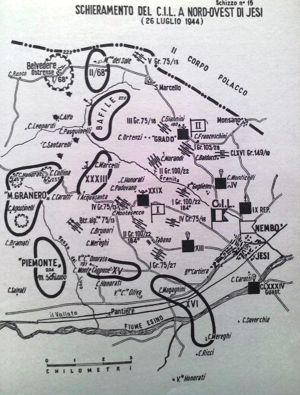 Schieramento del Corpo Italiano di Liberazione 31 luglio 1944