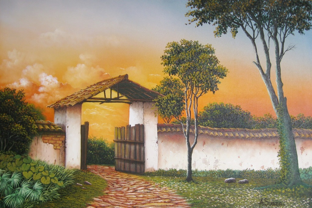 Cuadros modernos pinturas y dibujos cuadros con casas - Cuadros de casas de campo ...