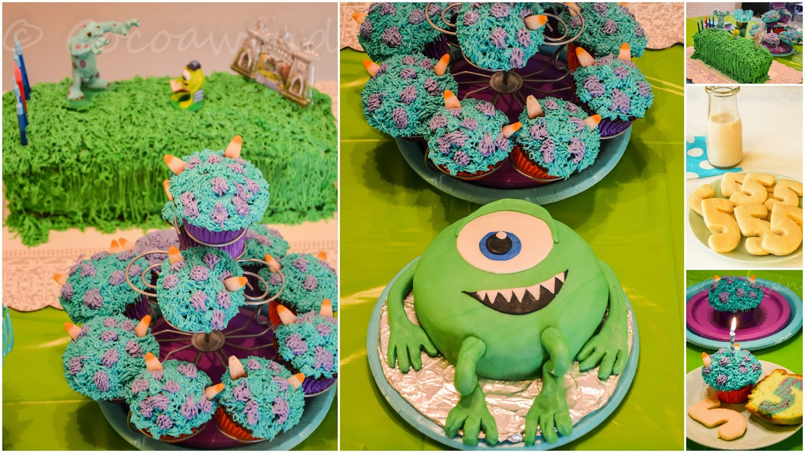 Mike Wazowski Birthday Cake, Sully Cupcake, Surprise inside Cake