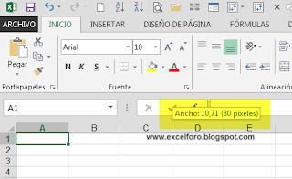 Unidades de medida para Excel.