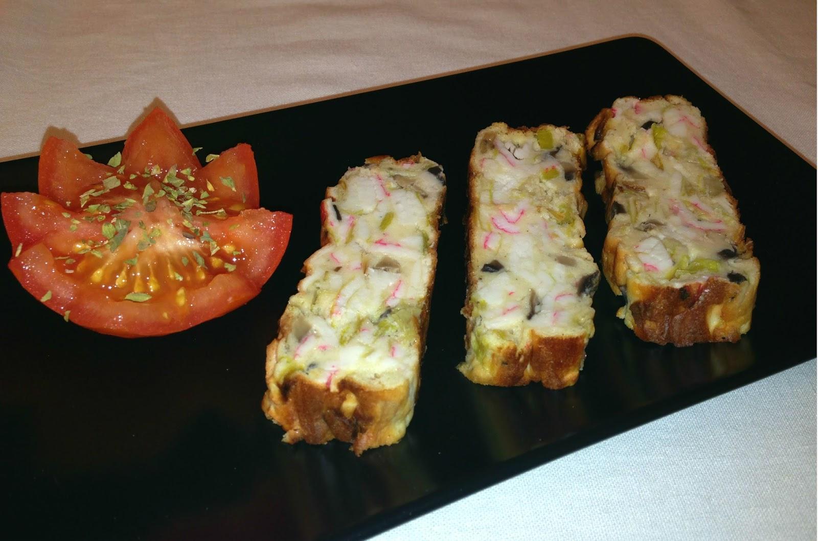 Pastel de surimi y champiñones
