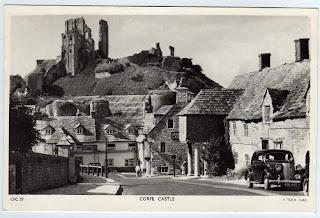 Vintage postcard of Corfe Castle, Dorset