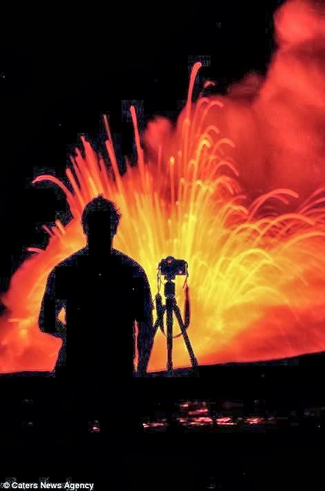 Lava do Vulcão Kilauea explode no ar