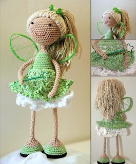 Вязаная кукла на каркасе Фея Зелени