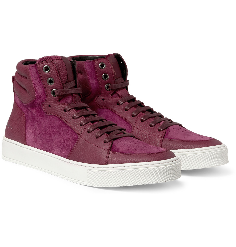 00O00 London Menswear Blog Louis Smith's YSL Yves Saint Laurent  Suede and Leather-Panelled High Top Sneakers - Mayfair Club