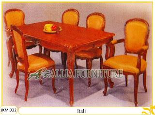 Kursi dan Meja Makan Ukiran Kayu Jati Itali