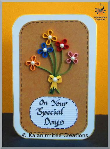 Kalanirmitee creations handmade cards simple quilled birthday card stopboris Choice Image