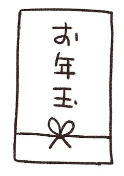お年玉・ぽち袋のイラスト(お正月) 線画