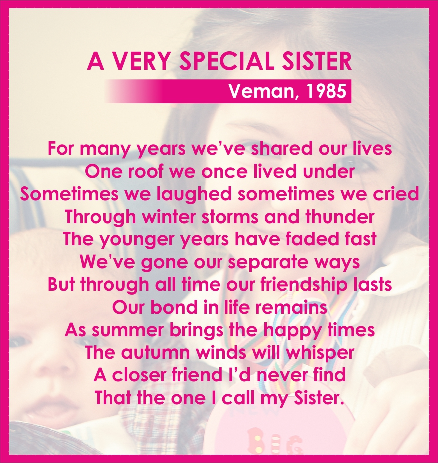 sister poem 1 Best friend sister poems highlight the special relationship close sisters share add a meaningful poem to your sister's birthday card or send one in an.