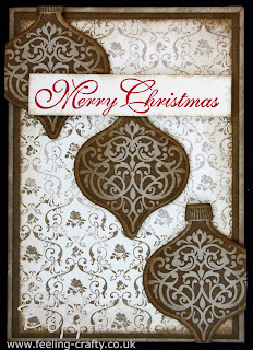 Stunning Vintage Bauble Card by Bekka featuring the Ornament Keepsakes Stamp Set from Stampin' Up! www.feeling-crafty.co.uk