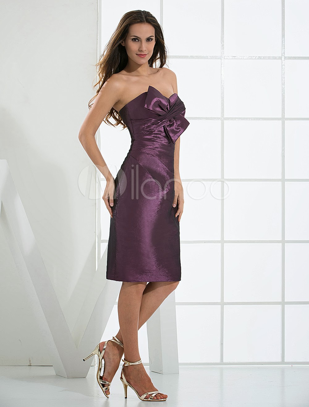 China Wholesale Clothes - Knee Length Strapless Satin Taffeta Summer Prom Homecoming Dress
