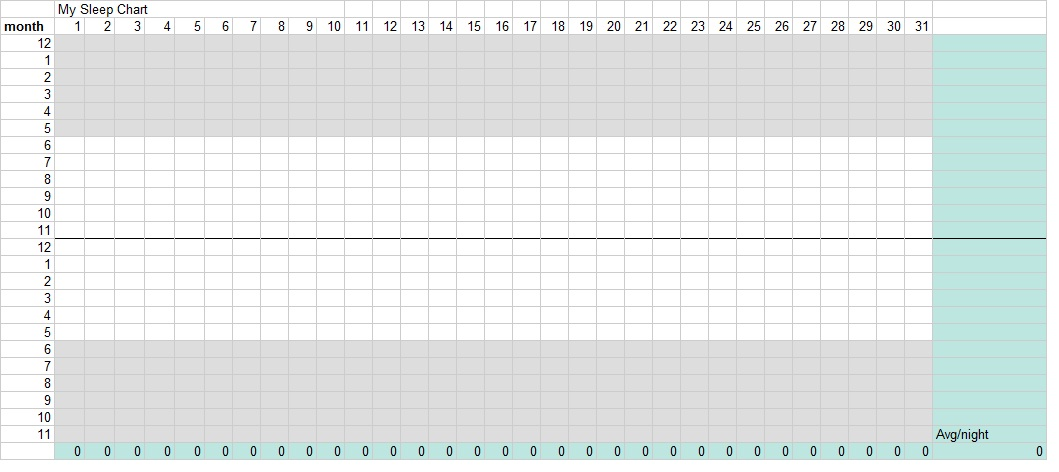 daily sleep chart excel template