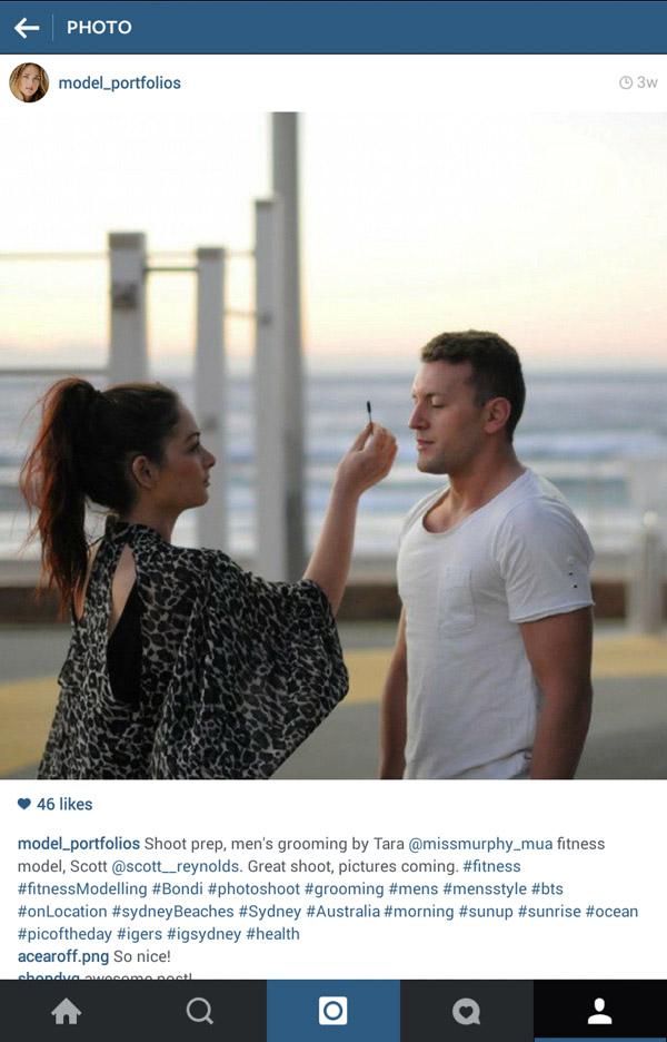 Grooming, Instagram screenshots, dawn shoot at Bondi Beach men's model portfolio by Kent Johnson.