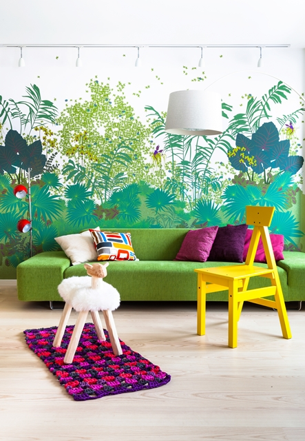 Photo of living room furniture by well designed and painted wall