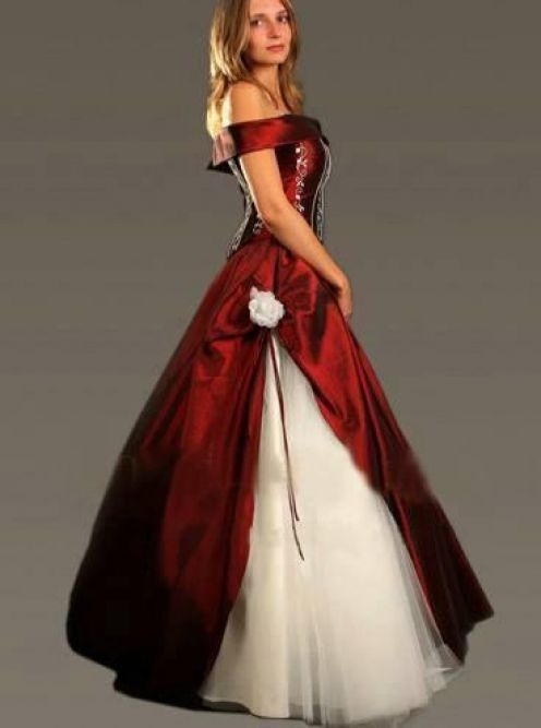 Wedding Dresses White Red And Black 82