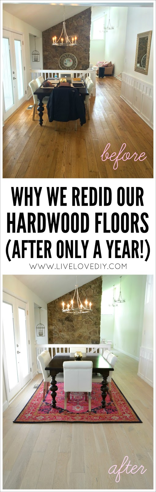 Our new white washed hardwood flooring (and why we had to rip out the old ones after only a year!). Great cautionary tale about how to find a good contractor when renovating your house!