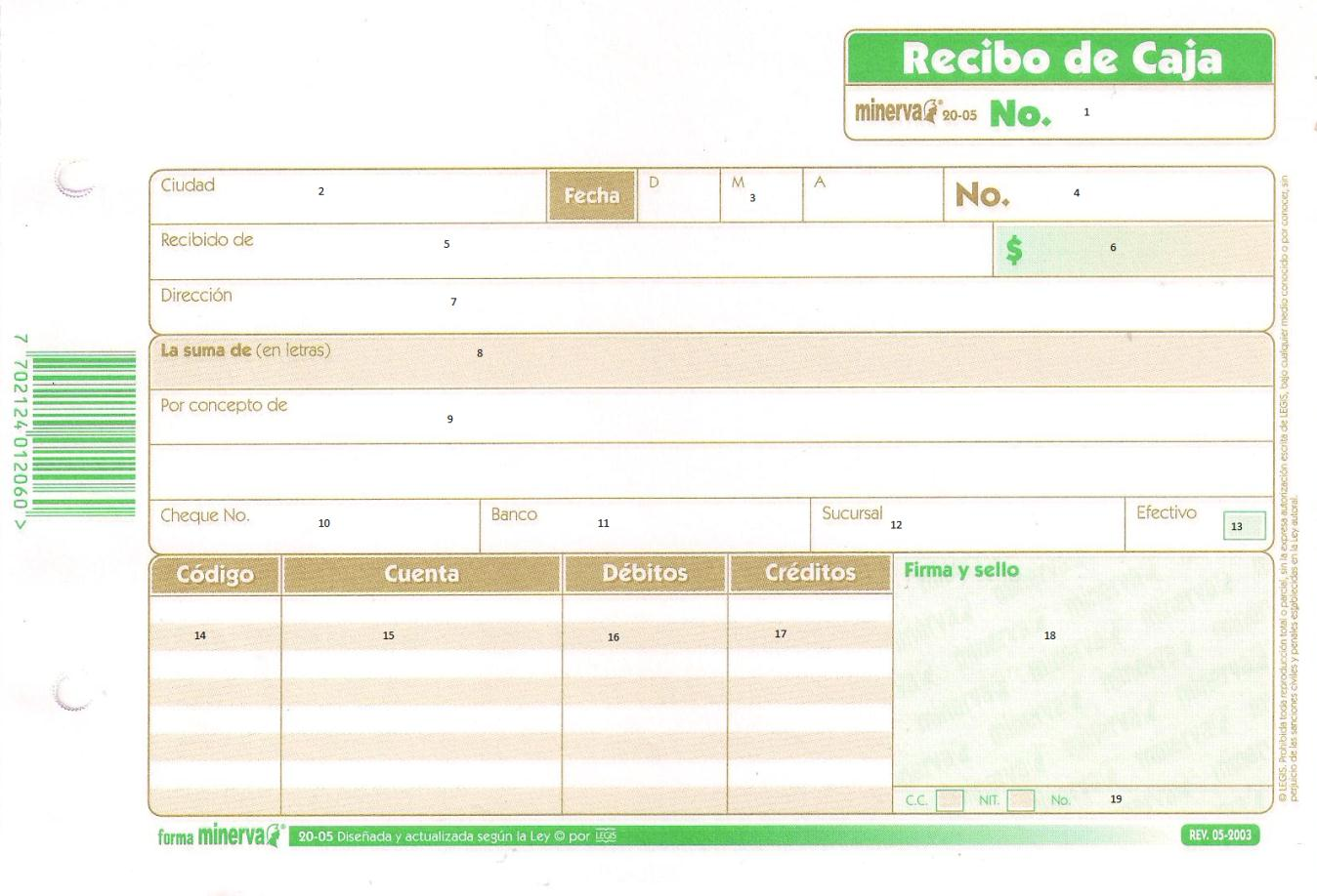 documentos comerciales recibo de caja