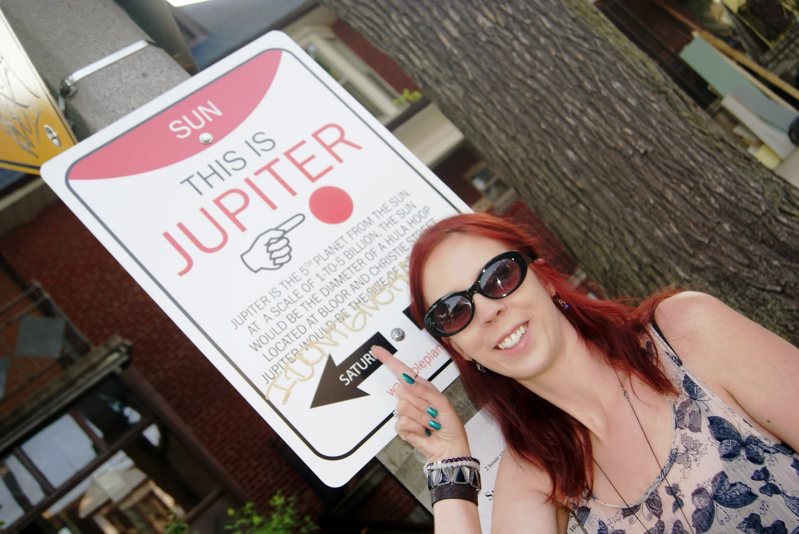 Jupiter Wayfinding Sign from Walkable Planets scale solar system by Jode Roberts in Toronto, Public, Installation, Community, Project, Intervention, Explore, Grace Street, Gore Vale Avenue, Jane's Walk, 100-in1 Day, Ontario, Canada, Culture, Lifestyle, Galaxy, Art, Artist