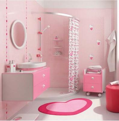 Mẫu phòng tắm nữ tính với tông màu hồng đẹp