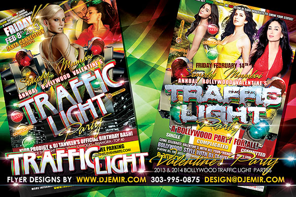 Simply Mumbai Bollywood  Valentine's Day Traffic Light Party Flyer