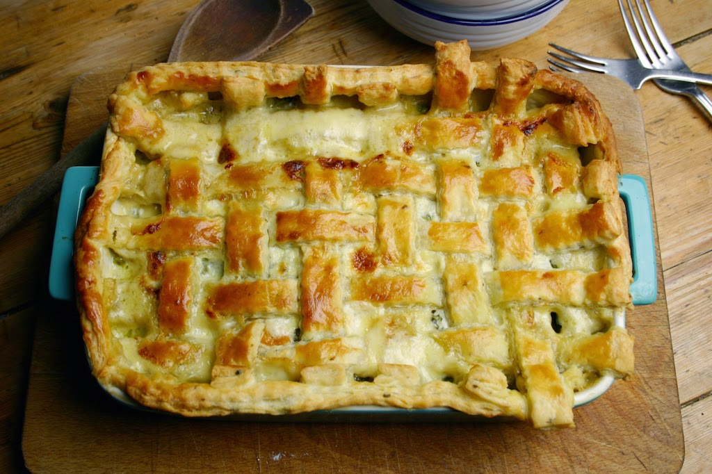 ... Kitchen: roasted butternut squash, broccoli and pea all-in-one pie