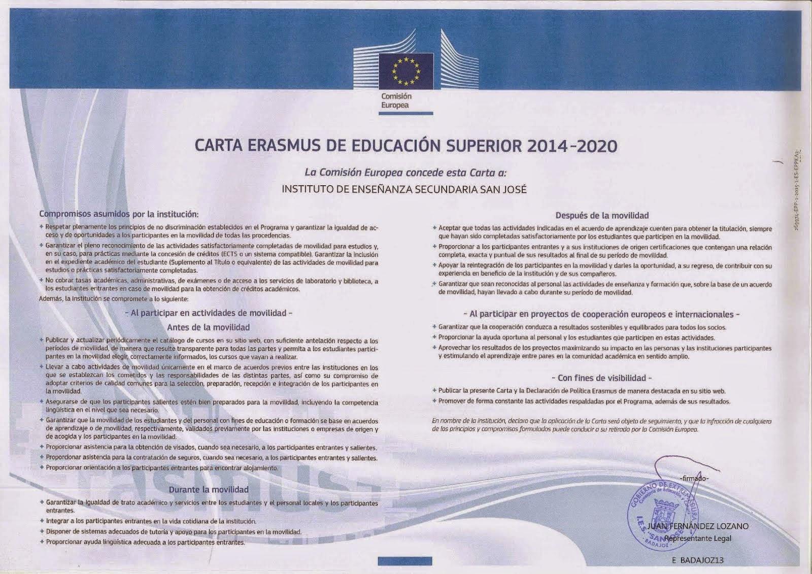 Carta Erasmus +   2014-2020