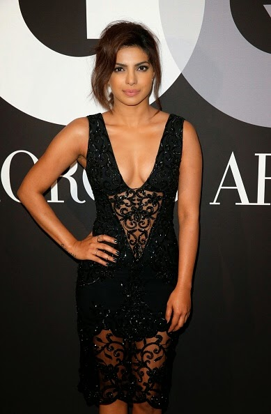 Priyanka Chopra Belly Cleavage & thighs visible in Black See-through Dress at GRAMMY After Party