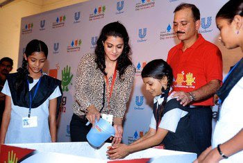 Kajol Devgan at a campaign to promote handwashing