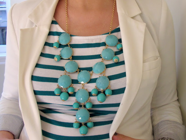 j crew bubble necklace aqua green