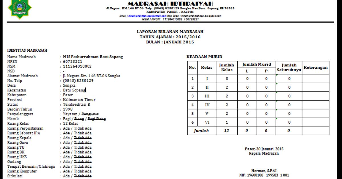 Format Laporan Bulanan Madrasah Terbaru 2016 Kemenag Kab Paser Mis Fathurrahman Batu Sopang