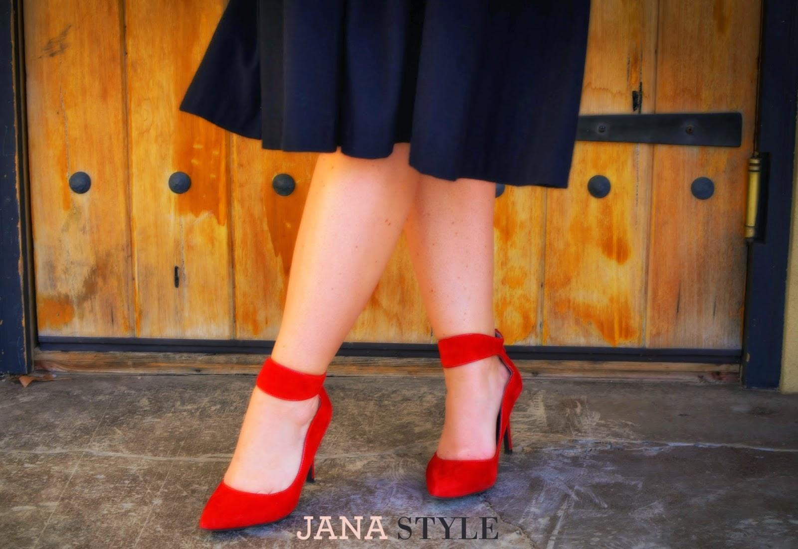 Midi Skirt & Red Shoes | JANA STYLE | Kansas City Fashion Blogger