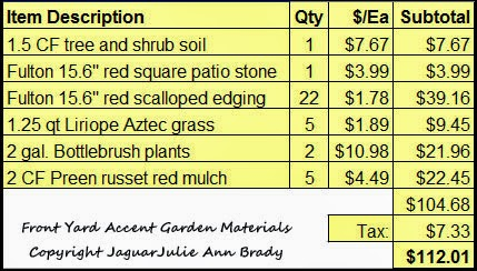 front yard accent garden diy materials list and cost